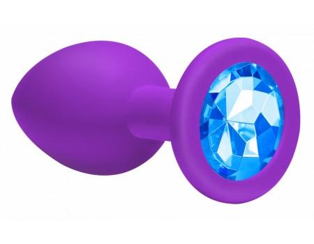 Анальная втулка силикон (кристалл голубой)