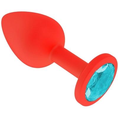 Анальная втулка силикон красная с голубым    кристаллом