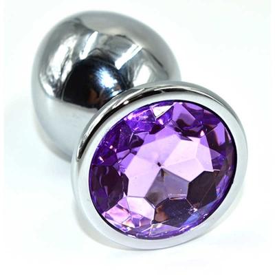 Анальная пробка серебро нежно-фиолетовый кристалл