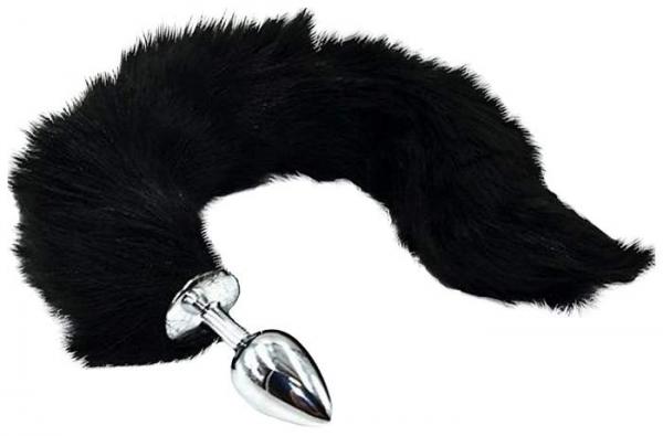 Анальная пробка серебро с чёрным гибким хвостом