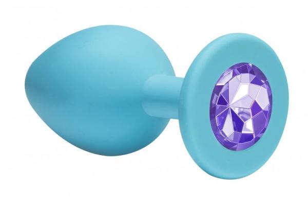 Анальная пробка силикон голубая  ( сиреневый кристалл)