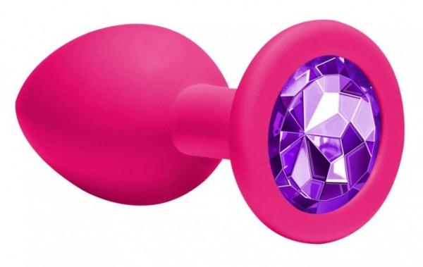 Анальная пробка силикон розовая  ( пурпурный кристалл)