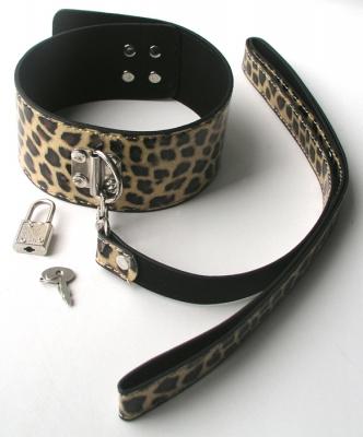 Ошейник с поводком леопард