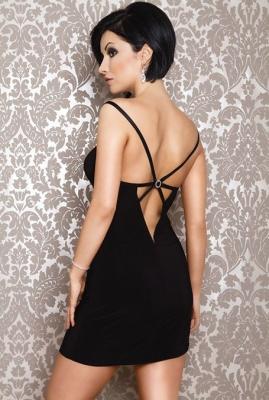 Платье с открытой спиной черное-S/M